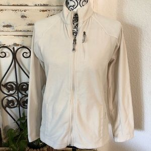 Black diamond cream full zip fleece jacket